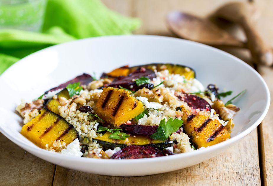Warm Quinoa Salad with Grilled Pumpkin & Beetroot